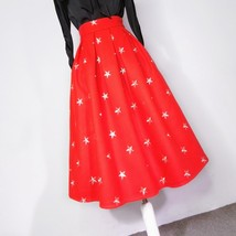 CHRISTMAS RED Winter Wool Midi Pleat Skirt High Waist Midi Skirt w. Star Pattern image 5