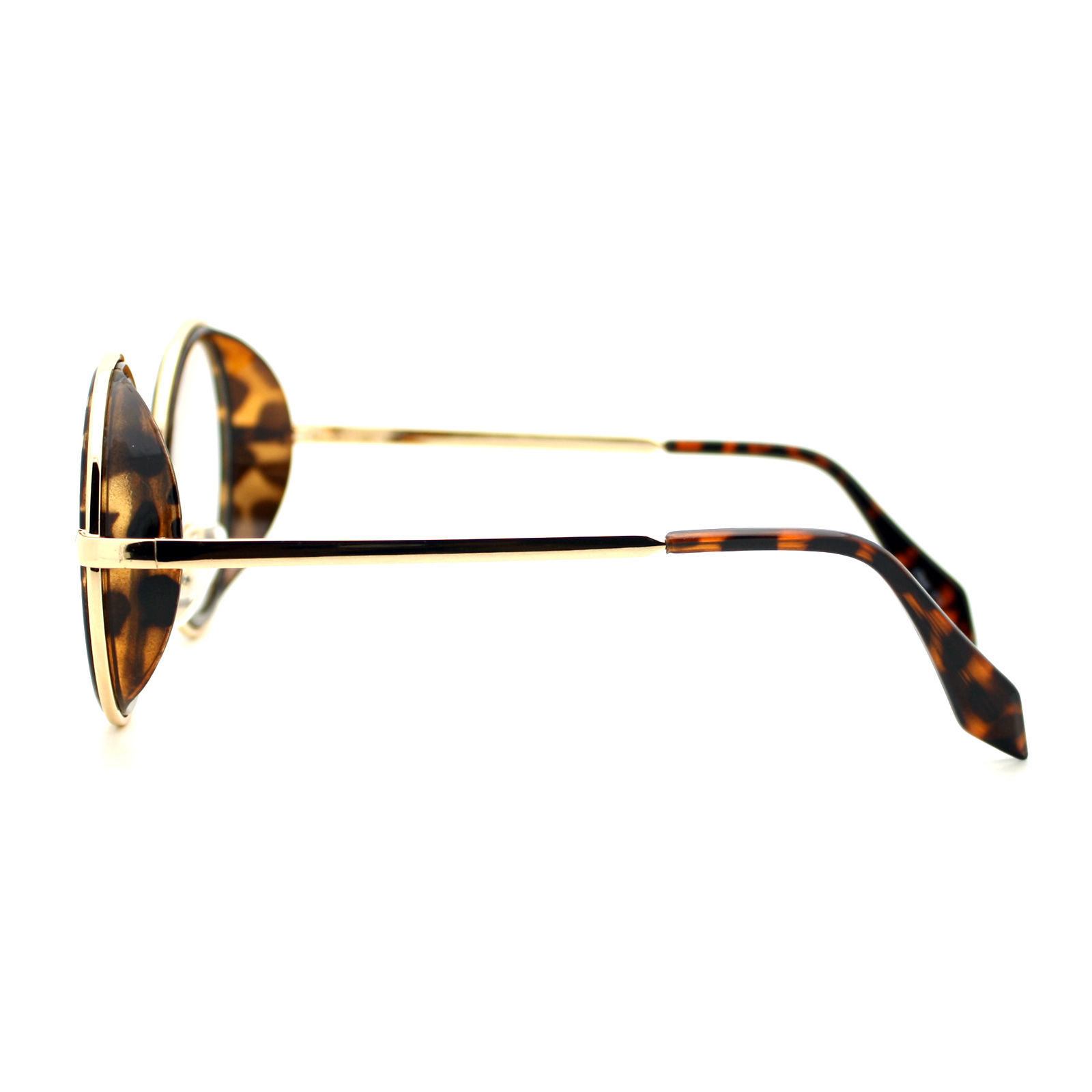 Double Rim Clear Lens Glasses Side Cover Round Circle Frame UV 400
