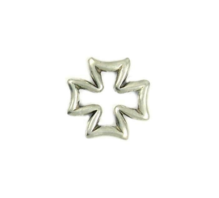 OPEN BORDER CROSS CHARM FINE PEWTER PENDANT CHARM - 22x22x3mm