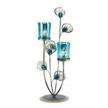 Peacock Plume Candle Holder Blue - $29.95