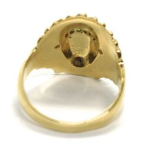 SOLID 18K YELLOW GOLD RING AMERICAN INDIAN WITH FEATHER HAT, ZIRCONIA ITALY MADE image 3