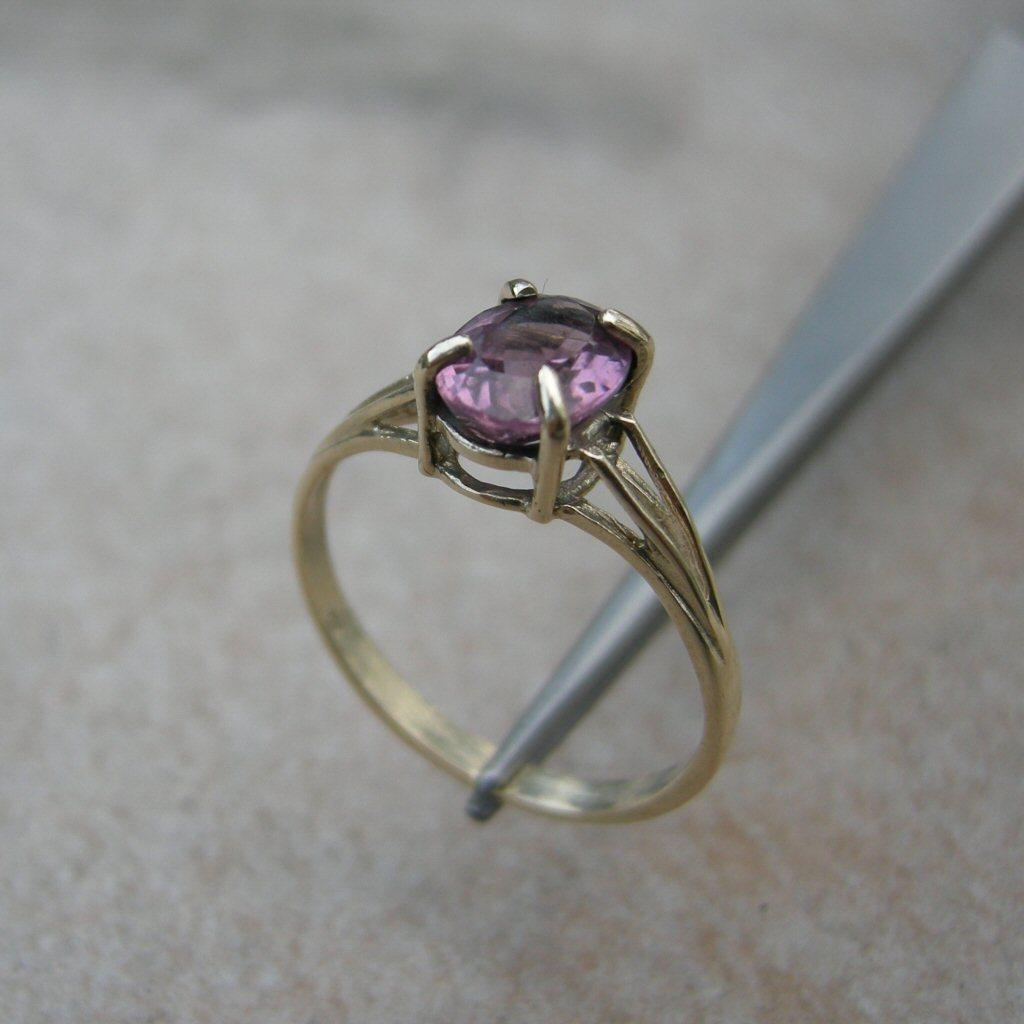 Yellow Gold Ring 1.30ct Pink Tourmaline