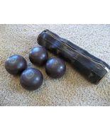 Antique Vintage Set of 4 Henselite Lawn Bowls Balls with Leather Bag - $100.00
