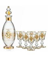eWorldPartner Decor Liquor Set Decanters Glass Handmade 1 Bottle 6 Glass Handcra - $319.81