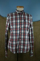Abercrombie Boy Orange + Blue Plaid Long Sleeve Button Up Shirt Sx XL - $11.15