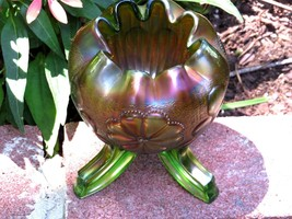 Northwood Carnival Glass Green Rose Bowl Daisy & Plume Pattern Rayed Int... - $64.35