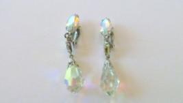 Vintage Lewis Segal Signed California Crystal Beveled Teardrop Clip on Earrings  - $22.00