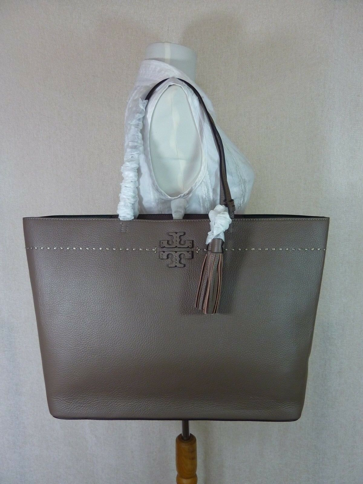 NWT Tory Burch Silver Maple/Malachite Leather McGraw Tote Bag $398