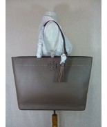 NWT Tory Burch Silver Maple/Malachite Leather McGraw Tote Bag $398 - $374.22