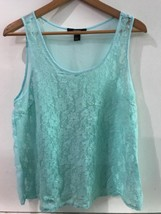 Forever 21 Womens Size Small Tank Top Floral Lace Front Sheer Back Aqua - $8.95