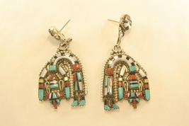 Earrings sterling silver with turquoise,coral,jet,and shell bent rainbow... - $210.00