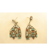 Earrings sterling silver with turquoise,coral,j... - $210.00