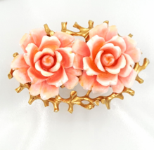 Judy Lee Vintage Flower Brooch with Double Roses in Shades of Coral Pink - $36.00