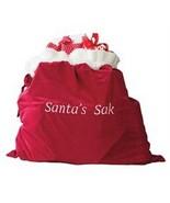 Oversize Microfleece & Velour Red Santa Sak Gift Holder NIP - $26.42