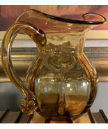Vintage Shapely Blown Amber Glass Pitcher : Perfect  - $36.63