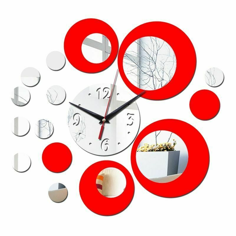 Primary image for Wall Clock 3d Quartz Watch Plastic Living Room Mirror Wall Sticker Home Decor