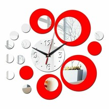 Wall Clock 3d Quartz Watch Plastic Living Room Mirror Wall Sticker Home ... - $17.47