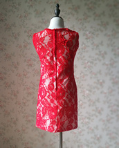 RED Lace Flower Girl Dress Short Straight Red Girl's Birthday Party Dresses NWT image 7