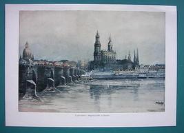 GERMANY Dresden Augustus Bridge - COLOR VICTORIAN Era Print - $13.05