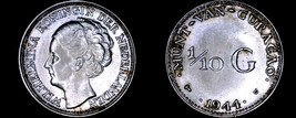 1944-D Curacao One Tenth Gulden Silver World Coin - $10.75