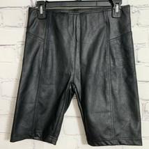 Free People Women's Biker Shorts Small Black Coated New - $43.01