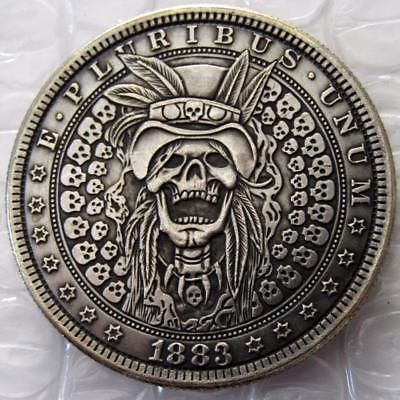 Primary image for Hobo Nickel 1883 Morgan Dollar Skull Zombie Skeleton Hand Carved Witch Doctor
