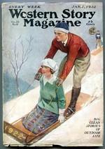 Western Story Magazine Pulp January 7 1922- Sledding cover VG - $94.58