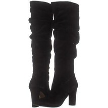 Franco Sarto Artesia Pointed Toe Slouch Knee High Boots 283, Black Suede, 5.5 US - $71.03