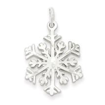 925 Sterling Silver Diamond Cut Snowflake Solid Charm Pendant - $21.04