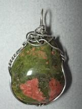 Unakite Pendant Wire Wrapped .925 Sterling Silver - Jemel  - $34.00