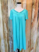 Vtg Miss Elaine Classics Waltz Nightgown Turquoise Short Flutter Sleeve ... - $18.52