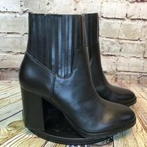 Aerosoles Womens Black Block Heel Leather Ankle Boots Size 9 - $32.34