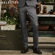 SELECTED Flax check business leisure slim suit pants S|418218506-in Suit... - $70.50