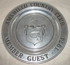 "Vintage Amarillo Country Club Member Guest 1974 Wilton Pewter TX 11"" Pla... - $28.71"