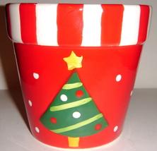 Red & White Ceramic Pot Shaped + Tea Light & Paperwhite - $8.00