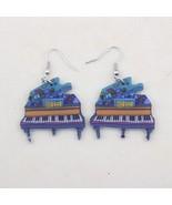 1 pair piano drop earrings new big house cute lovely printing acrylic design sum - $9.19