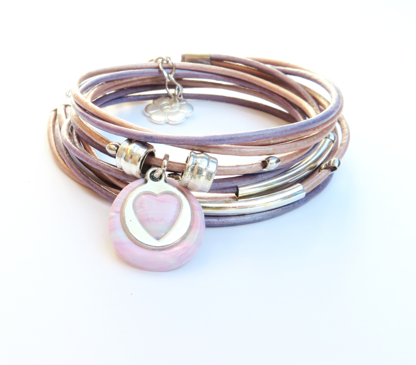 Primary image for Silver heart pink leather wrap bracelet, bracelet for her, friendship bracelet