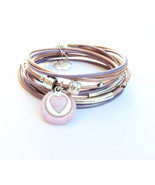 Silver heart pink leather wrap bracelet, bracelet for her, friendship br... - $32.50