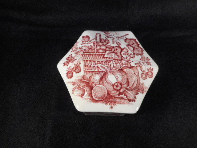 """Vintage Mason English Ironstone Octagon Lidded Trinket Box """"Fruit Basket"""""""