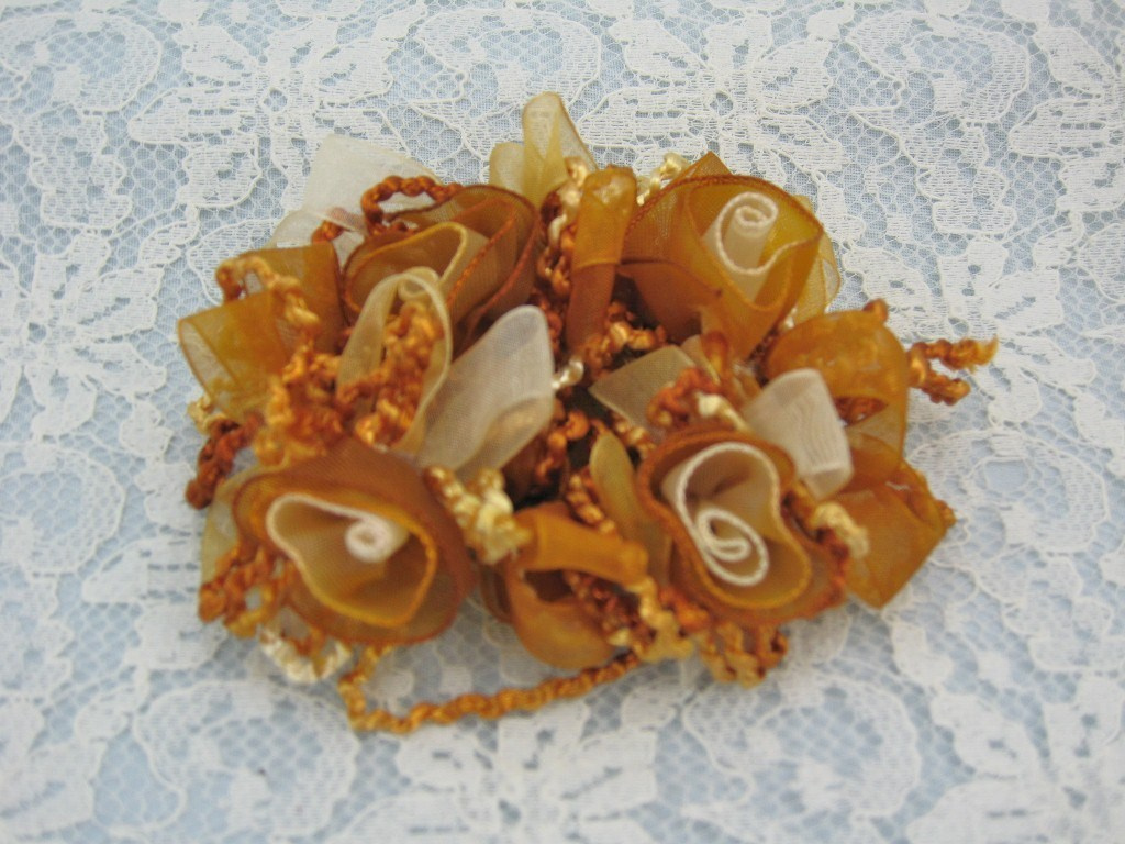 COPPER TAN RIBBON ROSES STRETCH HAIR SCRUNCHIES PONYTAIL