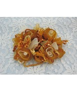 COPPER TAN RIBBON ROSES STRETCH HAIR SCRUNCHIES PONYTAIL - $4.99