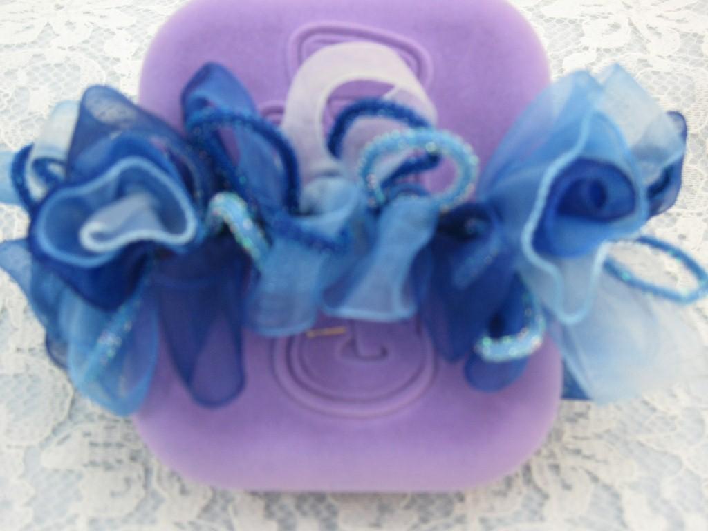 Cobalt Blue RIBBON ROSES STRETCH HAIR SCRUNCHIES PONYTAIL