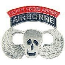 Army Airborne Paratrooper Death From Above Skull Pin - $13.53