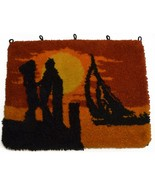 Vintage Handmade Retro Latch Hook Rug Wall Hanging Lover Sunset Sailing ... - $44.52