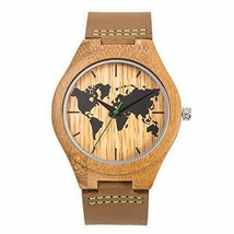 World Map Watch Mens Wooden Wristwatch Bamboo Leather Strap Brown Hand Made WP