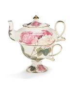 Elegant Romantic Rose Victorian Porcelain Teapot And Teacup Duo, Beautiful Gift - $32.95