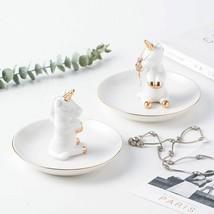 Decorative Unicorn Porcelain Plate Ring Plate Rings Holder Bracelets Ear... - $23.92