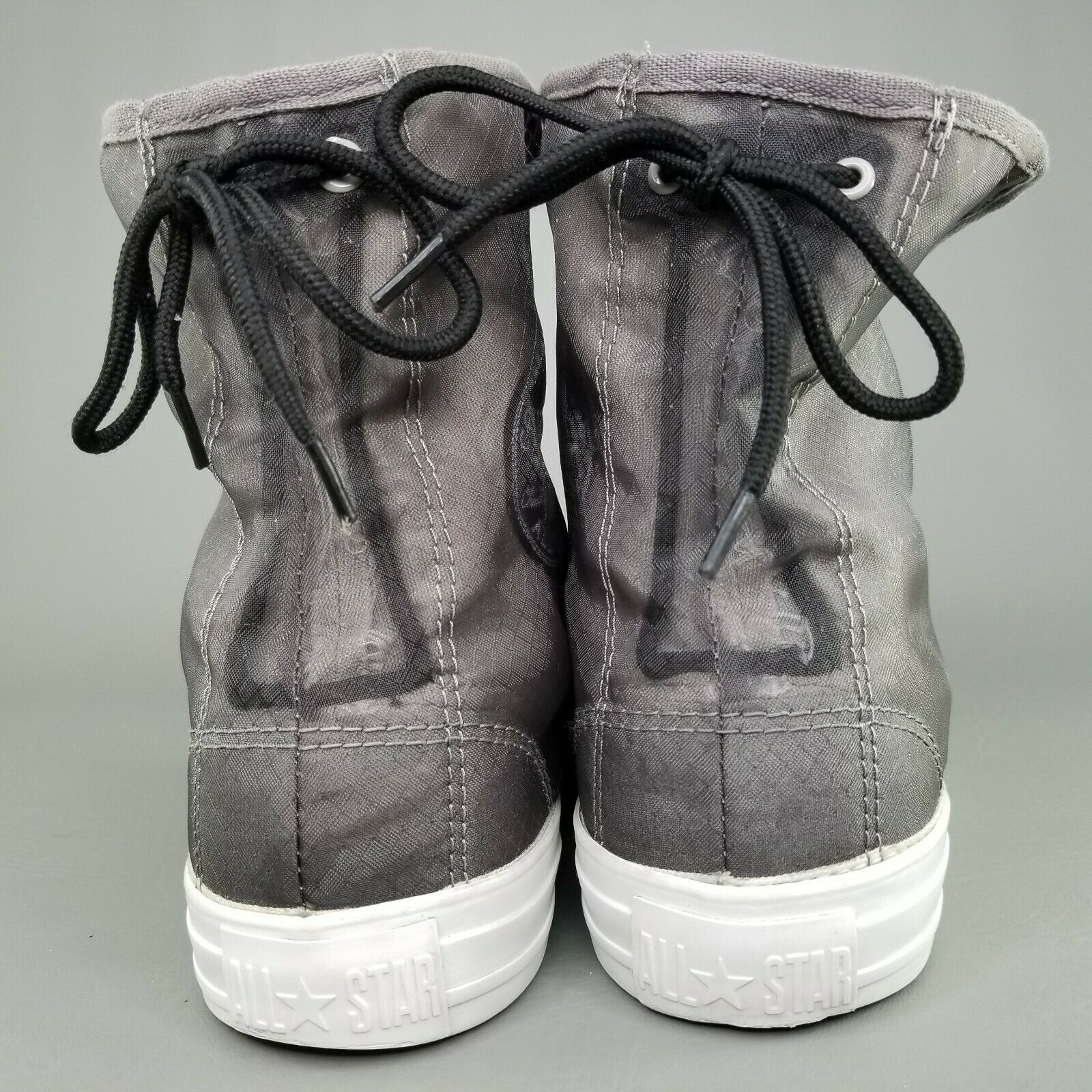 Converse CTAS Back Lace Hi Top Shoes Womens SZ 8 See Through Chucks Gray White image 8