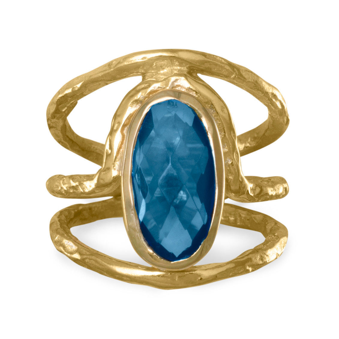 Beautiful 14 Karat Gold Plated Ring with Blue Hydro Quartz