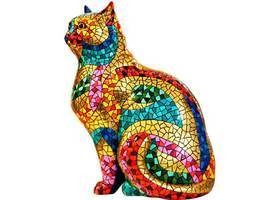 Barcino Carnival Large Cat Sculpture Hand Painted Design - $14.929,45 MXN